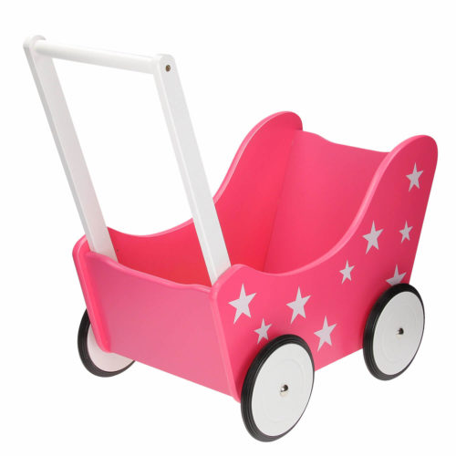 roze houten poppenwagen met sterren Sassefras Meisjes Speelgoed