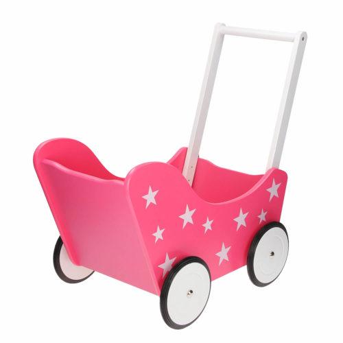 roze houten poppenwagen met sterren achterkant Sassefras Meisjes Speelgoed