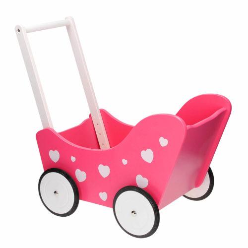 poppenwagen roze met hartjes achterkant Sassefras Meisjes Speelgoed