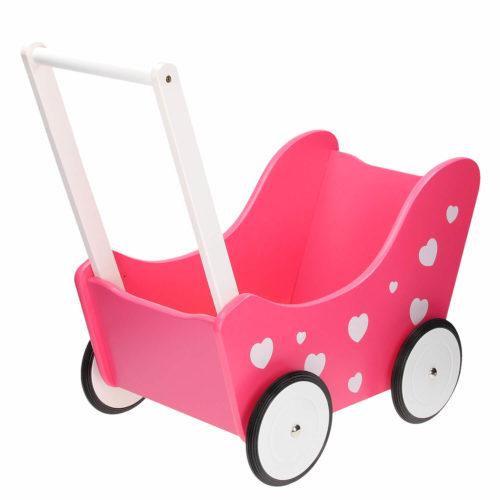 poppenwagen roze met hartjes voorkant Sassefras Meisjes Speelgoed