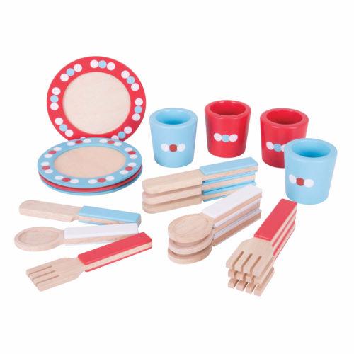 houten servies rood blauw Sassefras Meisjes Speelgoed