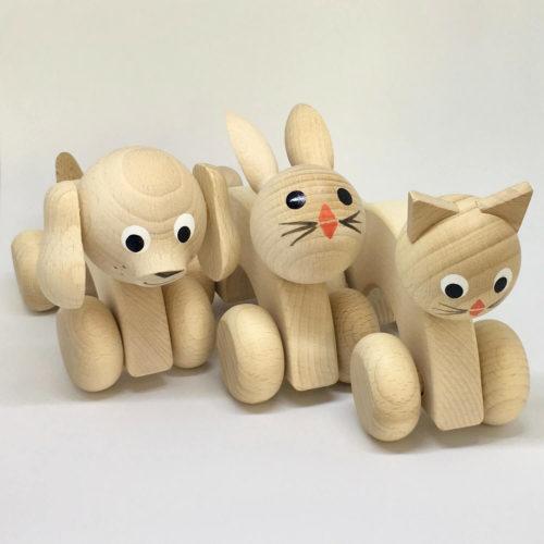 hond, konijn en poes op wielen Sassefras Meisjes Speelgoed