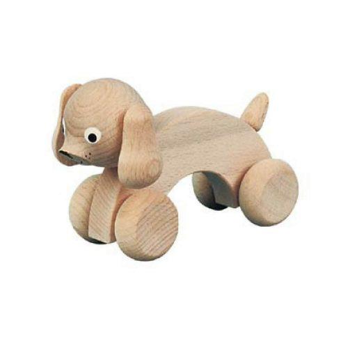 houten hond met wielen Sassefras Meisjes Speelgoed