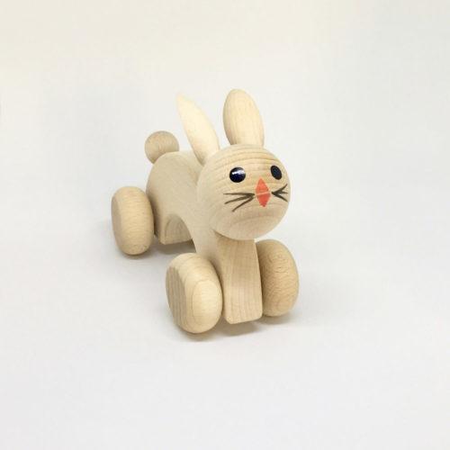 houten konijn met wielen Sassefras Meisjes Speelgoed