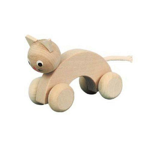houten poes met wielen Sassefras Meisjes Speelgoed