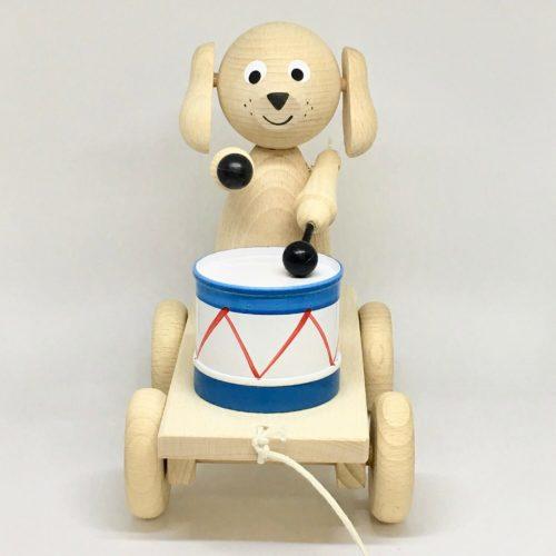 trekfiguur hond met trommel voorkant Sassefras Meisjes Speelgoed
