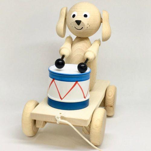 trekfiguur hond met trommel zijkant Sassefras Meisjes Speelgoed