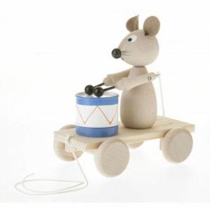 trekfiguur muis met trommel Sassefras Meisjes Speelgoed