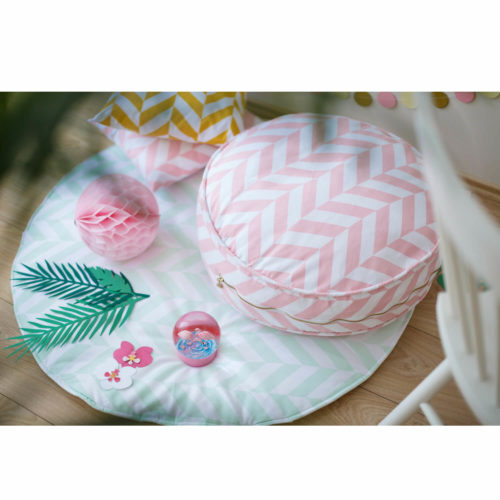 ronde ottoman poef roze chevron Sassefras Meisjes Speelgoed
