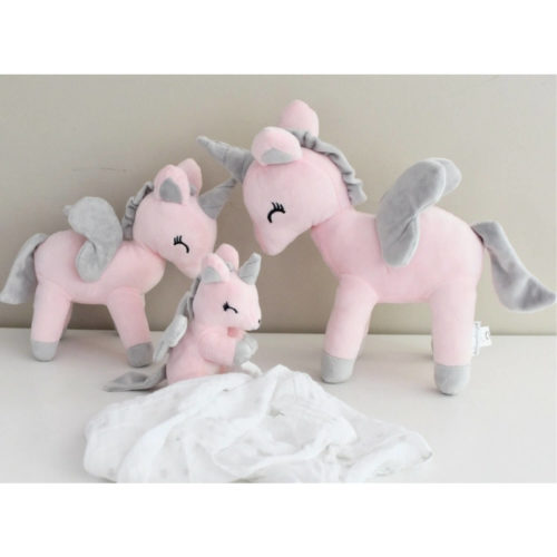 unicorn knuffel roze kein, meidum en groot