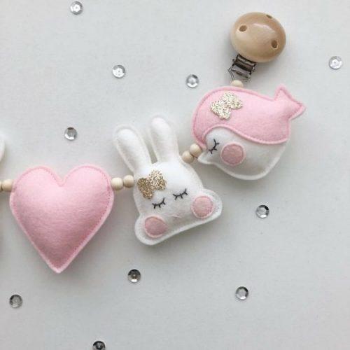kinderwagenspanner vilt vogel, konijn en hart Sassefras Meisjes Speelgoed