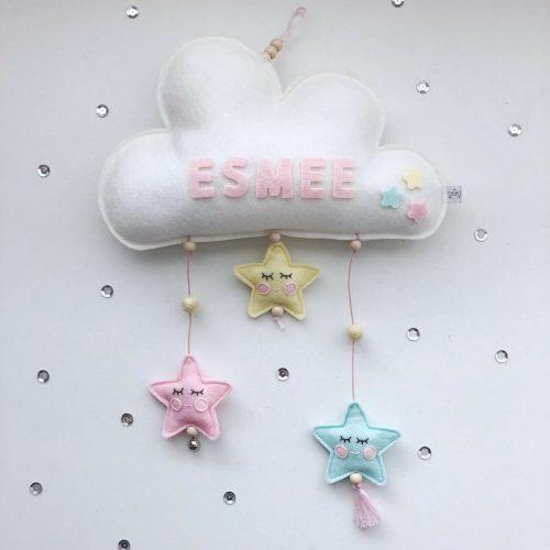 vilten naam mobiel wolk wit en pastel Sassefras Meisjes Speelgoed