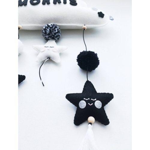 vilten naam mobiel wolk zwart wit detail 2 Sassefras Meisjes Speelgoed