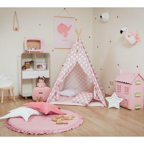 tipi tent roze met stippen sfeerfoto Sassefras Meisjes Speelgoed