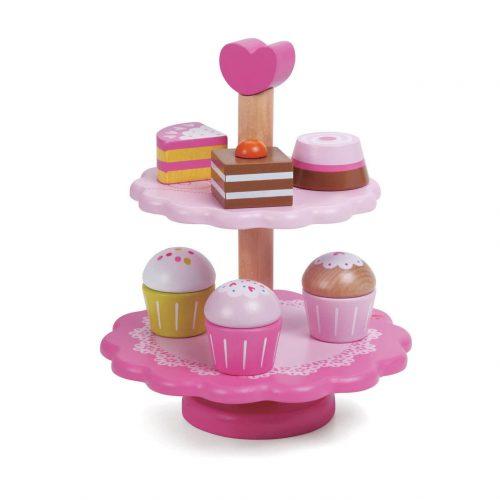 houten speelgoed cupcake standaard Sassefras Meisjes Speelgoed