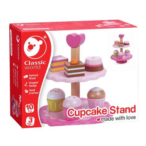 houten speelgoed cupcake standaard in doos Sassefras Meisjes Speelgoed