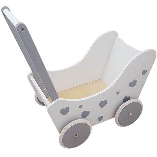 witte houten poppenwagen met zilveren hartjes Sassefras Meisjes Speelgoed